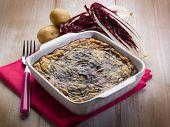 stock photo of chicory  - cake with potato and chicory - JPG