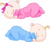 stock photo of twin baby girls  - Two charming little twins sleep in pajamas - JPG