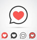 pic of bubbles  - Heart in speech bubble icon - JPG