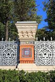 pic of old stone fence  - Column old fence with paintings in the old Russian style - JPG