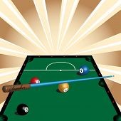 image of snooker  - Abstract colorful illustration with green snooker table - JPG