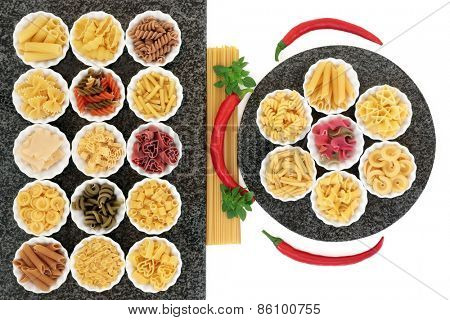 Italian pasta food selection with herb and spice food ingredients on marble over white background.