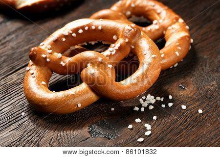 Fresh pretzels with sea salt close-up