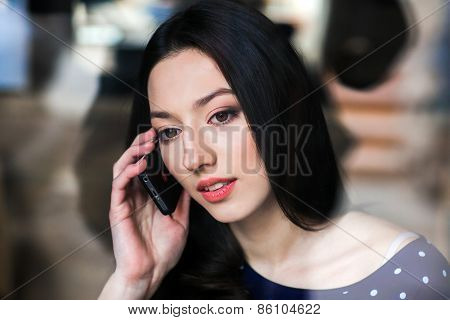 Beautiful Girl Working With High Technology
