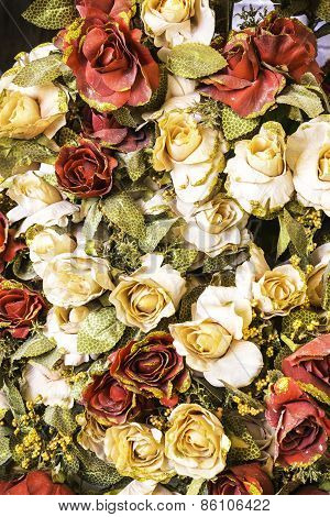 Artifical Rose Flowers  Background