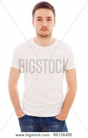 Studio portrait of a young handsome man in a white t-shirt
