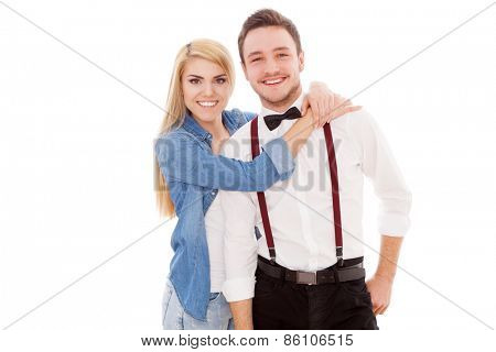 Young beautiful hipster couple isolated on white background