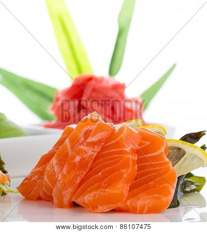 Sashimi With Ginger And Wasabi Over White Background