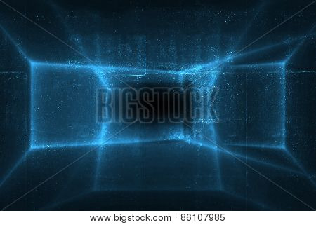 Abstract Blue Shining Pattern Over Dark Concrete Wal