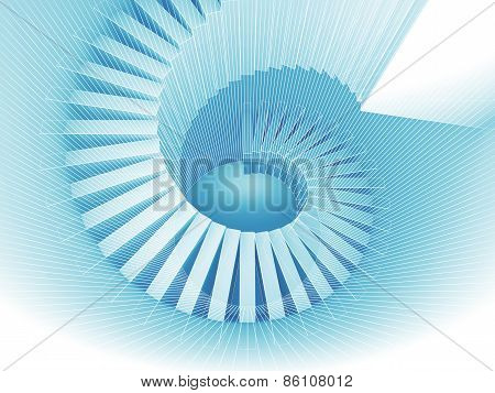 Blue 3D Spiral Structure Perspective With Wire-frame