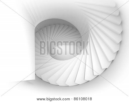Abstract 3D White Spiral Interior Perspective With Stairs