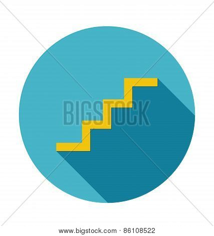Stairs Icon With Long Shadow Vector