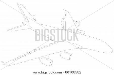 Wire-frame airplane. Top view. Vector Illustration rendering of 3d