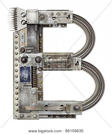 Industrial metal alphabet letter B
