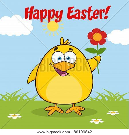 Happy Easter With Smiling Yellow Chick Cartoon Character With A Red Daisy Flower