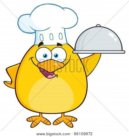Chef Yellow Chick Cartoon Character Holding A Platter