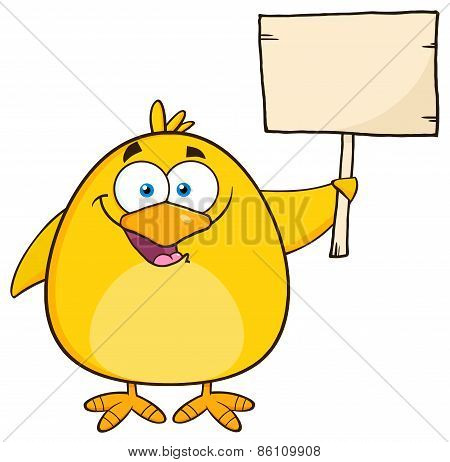 Happy Yellow Chick Cartoon Character Holding A Wooden Sign