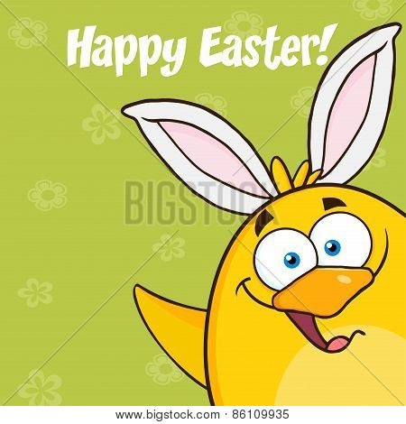 Happy Easter With Smiling Yellow Chick Cartoon Character With Bunny Ears Waving