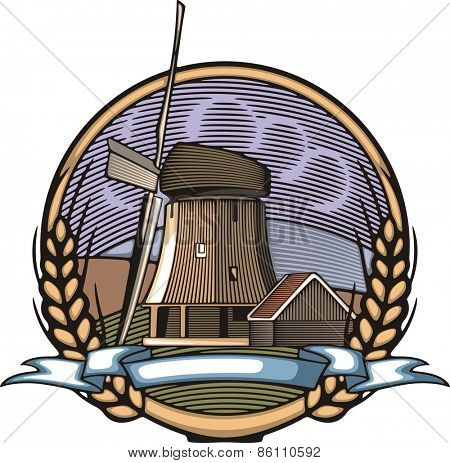 Vector illustration of a windmill, surrounded by fields and mountains, done in retro woodcut style.
