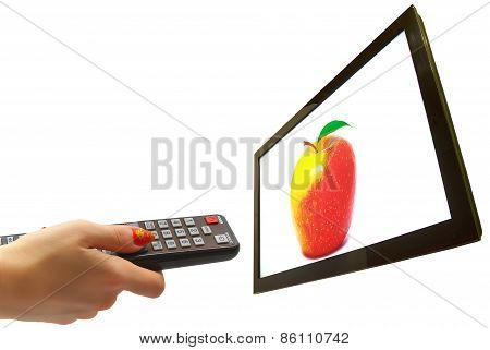 Tv And Hand Isolated