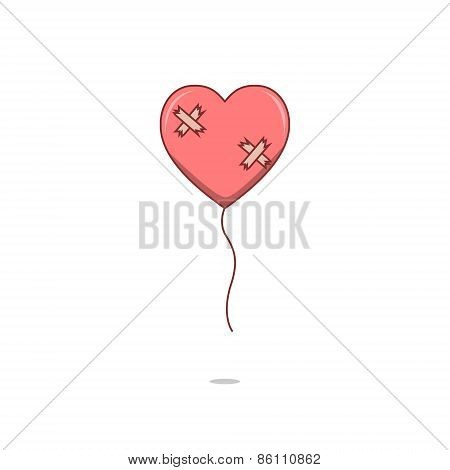 Isolated cartoon broken heart love balloon