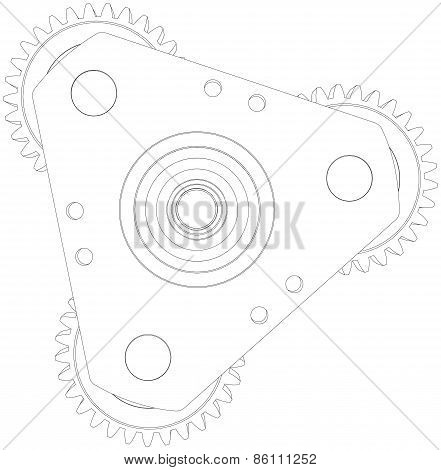 Wire-frame gears. Front view. Vector illustration