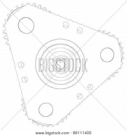 Sketch of wire-frame gears. Front view. Vector illustration