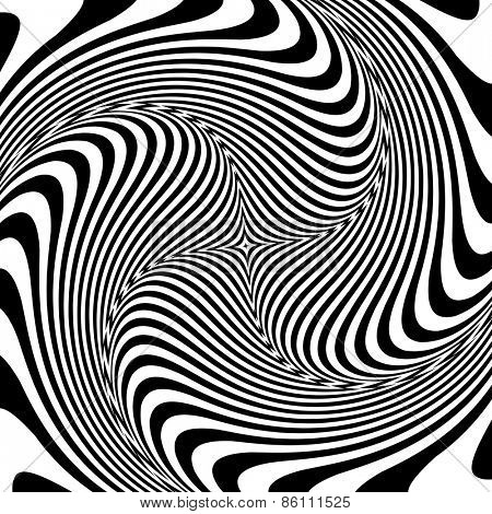 Torsion illusion. Abstract op art design. Vector art.