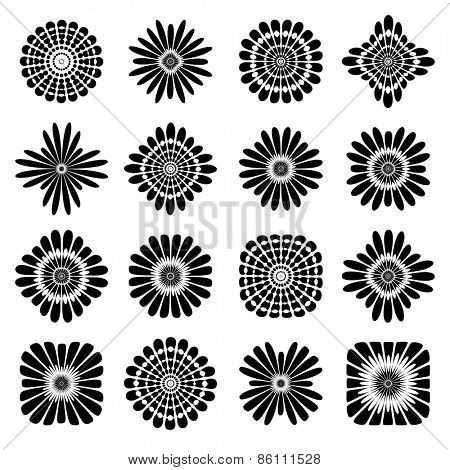 Abstract floral icons. Design elements set. Vector art.