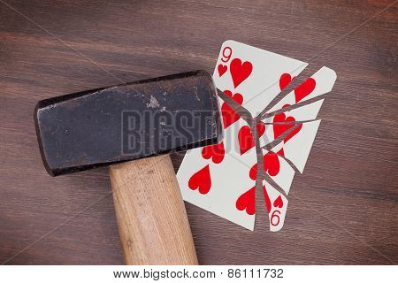 Hammer With A Broken Card, Nine Of Hearts