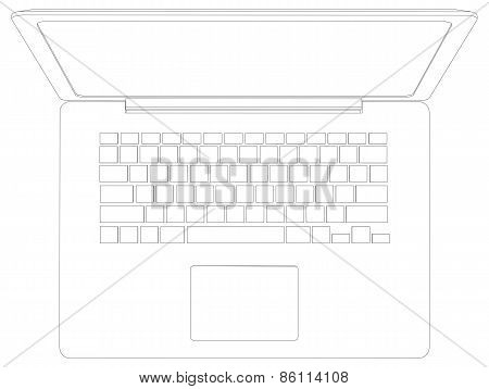 Drawing of wire-frame open laptop. Top view. Vector illustration