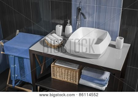 Detail Of A Contemporary Bathroom With Sink And Accessories