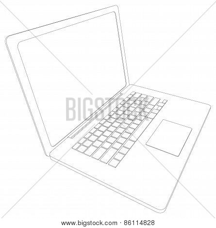 Drawing of wire-frame open laptop. Perspective view. Vector illustration
