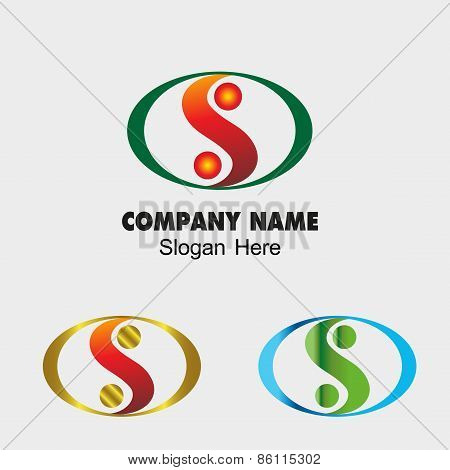 Abstract vector S letter sign design template. Modern yin yang icon idea