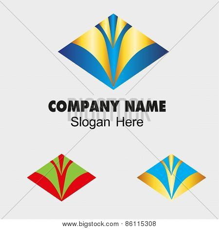 Abstract Vector V Design Template with Rhombus symbol. Creative Concept Icon. Combination of Letter