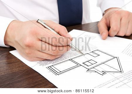 Architect Draws A Drawing House Project