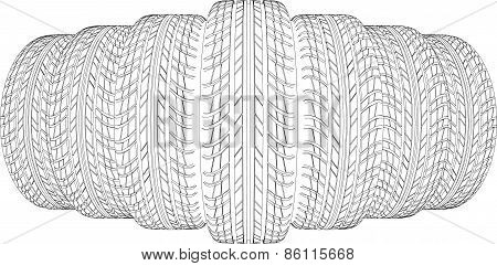 Wedge of seven wire-frame tires. Vector illustration