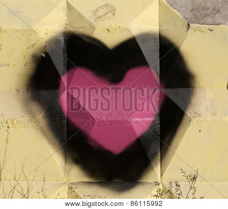 Embossed Cement Fence With Painted Hearts