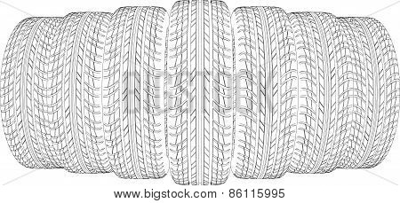 Drawing of seven wire-frame tires. Vector illustration