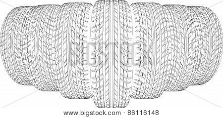 Sketch of seven wire-frame tires. Vector illustration