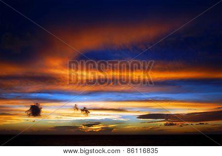 Sun Setting on the Atlantic Ocean in Tenerife, Canary Islands, Spain