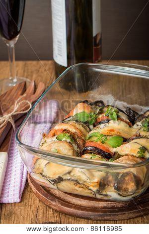 Appetizer With Eggplant, Cheese Mozzarella  And Tomato