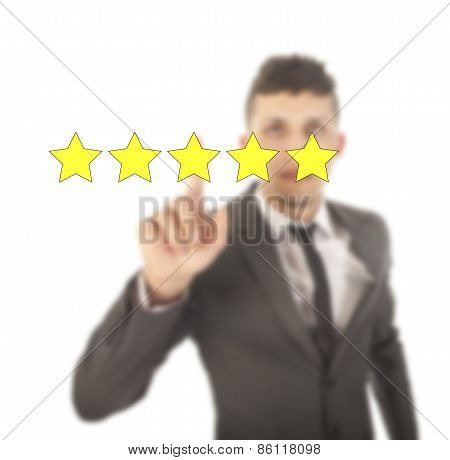 Young man With Five Stars Isolated On White Background
