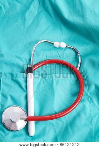 Surgeon With Stethoscope In Pocket