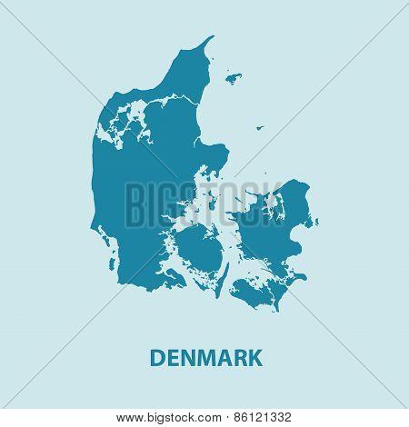 Denmark Map Vector Very Detailed
