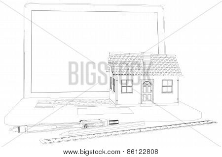 Sketch of house, laptop and engineer tools. Vector illustration