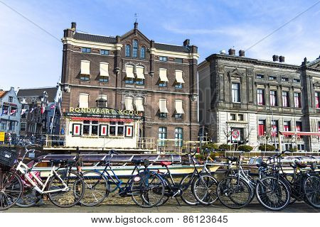 View of a canal and bikes in Amsterdam
