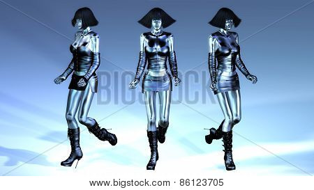 Digital 3D Illustration Of Walking Manikins