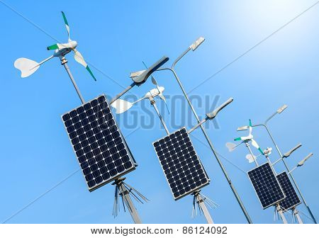 Green Power, Wind Turbines And Solar Panels.