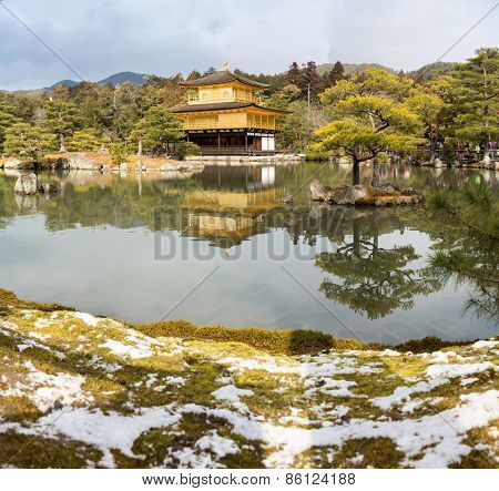 Kinkakuji Temple (The Golden Pavilion) in Kyoto, with snow Japan
